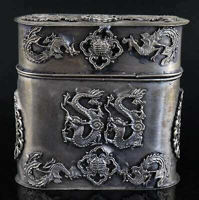 Collect Antique Tibet Silver Carve Myth Dragon & Phenix Royal Family Noble Box