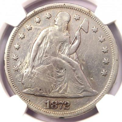 1872 Seated Liberty Silver Dollar $1 - NGC VF Details - Rare Certified Coin!