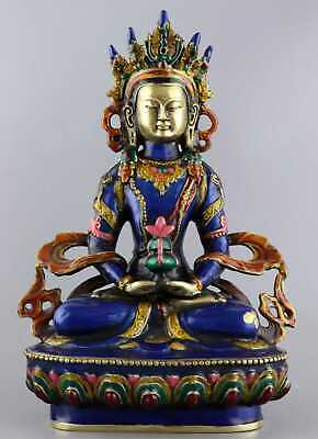 AAA Collect QIanlong Years Antique Cloisonne Carve Exorcism Luck Buddhism Statue