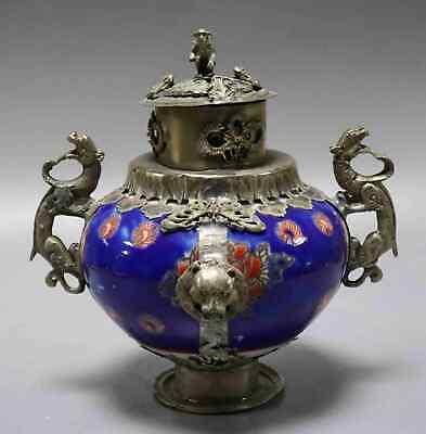 Collect Old Tibet Silver Armoured Porcelain Carve Dragon & Monkey Noble Censer