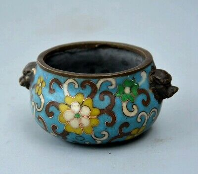 Collectable Qianlong Years Cloisonne Hand Carve Flower Exquisite Noble Censer