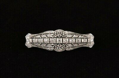 Vintage Art Deco Platinum 14k White Gold ~1 1/4cdtw Diamond Filigree Bar Pin
