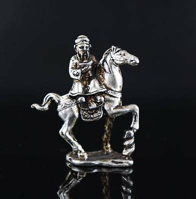 Collect Old Tibet Silver Carve Immortal Ride Horse Auspicious Bring Luck Statue