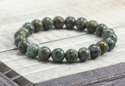"""African Turquoise 6mm, 8mm or 10mm Gemstone Beaded Stretch Bracelet 6""""-8.5"""""""