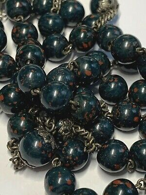 † Scarce Hallmark Antique Sterling Bloodstone Martyr's Stone Heliotrope Rosary †