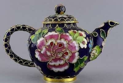 Collect China Antique Cloisonne Hand Carve Blooming Flower Delicate NOble Teapot