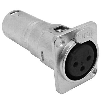 XLR Female to Male Pass Through Feed Panel Mount Adapter - D Series Hole Pattern