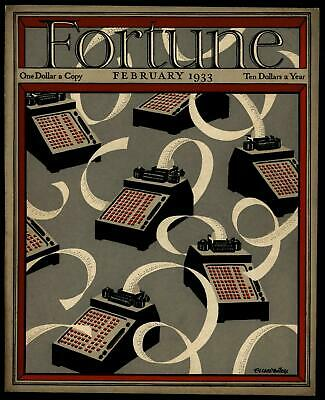 Adding Machines Art Deco style Fortune Magazine 1933 beautiful color cover