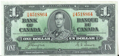 Bank of Canada 1937 $1 One Dollar U/M Prefix Coyne-Towers VF+