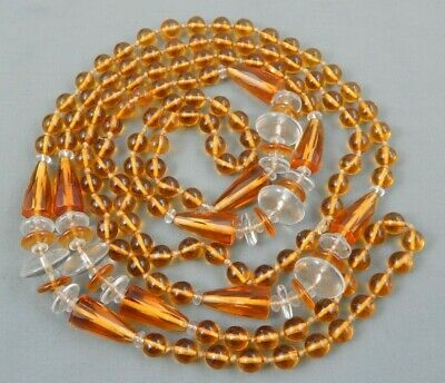 Vintage Art Deco Knotted Amber Topaz Glass Bead Necklace Flapper Length 54""