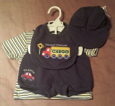 Baby boys outfit 0-3 months set brand new navy shorts striped t-shirt bib cap