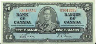 Bank of Canada 1937 $5 Five Dollars Gordon- Towers N/C King George VI Good VF++