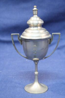 Antique Silver-plate on Brass Pedestal Urn Trophy with Handles & Lid
