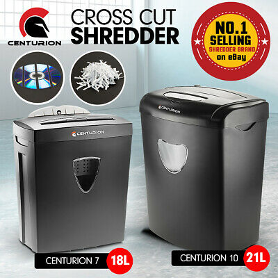 Centurion Office Paper Shredder 18-21L Cross Cut 7-10 Sheets Cds Credit Cards