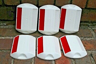 Six 6 Raised Pavement Markers RPMs Red & White C80FH Erw-2way reflective NEW
