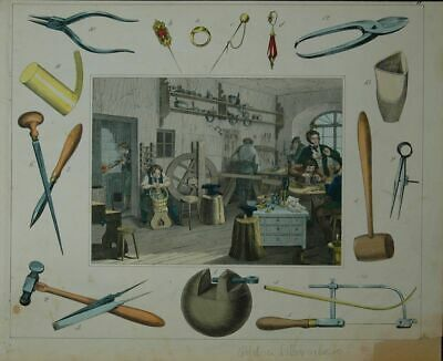 Profession: Gold and Silberarbeiter with Werkstatt. Old Coloured Lithographie.