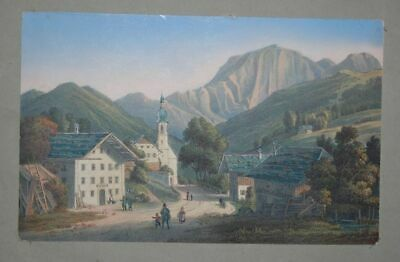 View of Ramsau at Berchtesgaden. Old Coloured Lithographie. Ramsau: