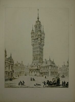 Clock Tower Bergues. Drawn and Engraved by John Coney (1786-1833)