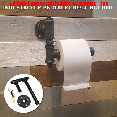 Black Industrial Rustic Iron Pipe Metal Toilet Paper Roll Holder Wall