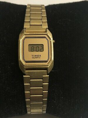 Vintage Timex LCD Digital Gold Tone Ladies Watch * K Cell