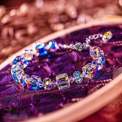 Women Aurora Borealis Crystal Bracelet Square Bangle Chain Wristband Adjustable