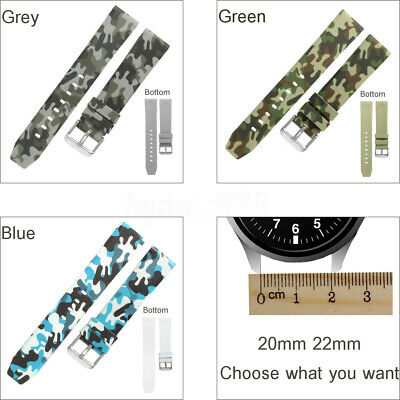 Green/Gray/Blue Military Camo Silicone Rubber Sport Watch Strap Band 20/22mm