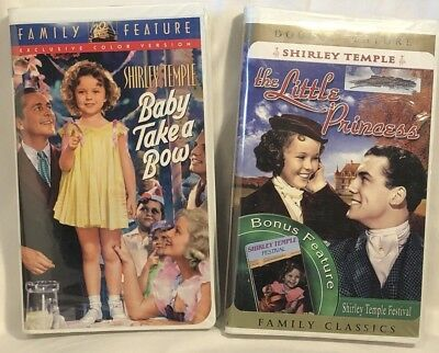 2 VHS VCR Shirley Temple Movies Baby Take a Bow & The Little Princess-VG preown