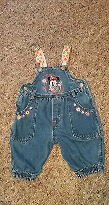 Disney Baby Mickey & Co Minnie Mouse Denim Overalls Baby Girls Size 3-6 Months