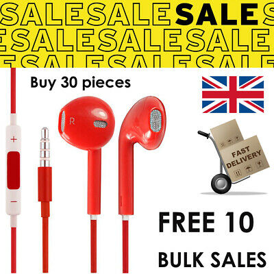 Buy 30 FREE 10 RED EarPods Handsfree Android Smartphone Computer Joblot SALES