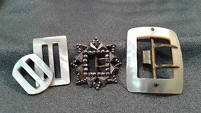 Antique Victorian Cut Steel Ornate Buckle & Mother Of Pearl Buclkles Lot