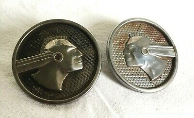 Matching Pair Of Vintage 1950's Pontiac Car Emblems Indian Chief Head Original