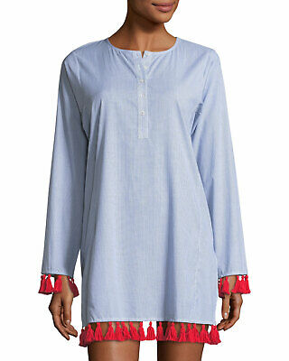 278c301fba381 Tory Burch Sandy Women's Beach Tunic Large Blue White Stripe Cotton Dress