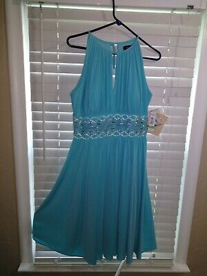 RM Richards SPARKLE Womens 8 TALLA aqua blue FORMAL WEDDING NWT DRESS RHINESTON