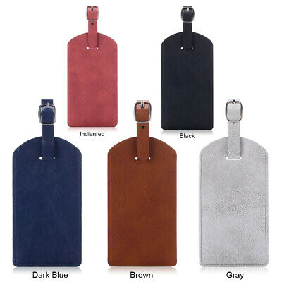 PU Leather Luggage Tag Solid Travel Bag ID Card Tags For Address Label Baggage