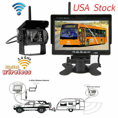 7'' Wireless Rear View System For Truck Bus Trailer RV HD LCD Monitor+CCD Camera