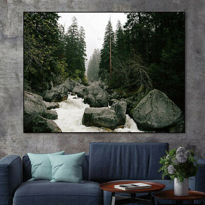 modern wall painting canvas print landscape forest river paintings art on canvas