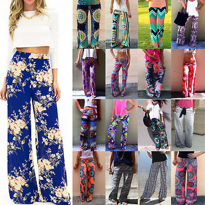 eb73169e0b9524 Women Ladies Floral Print Loose Boho Beach Wide Leg Pants Palazzo Yoga  Trousers