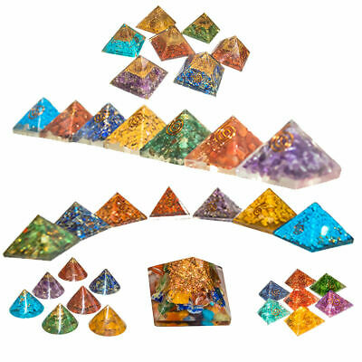 Seven Chakra Crystal Orgone Pyramid Set For Reiki Healing Energy Gemstone