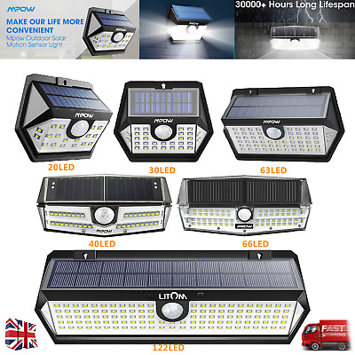 Mpow Waterproof LED Solar Light Super Bright Motion Sensor Security Wall Lamp UK