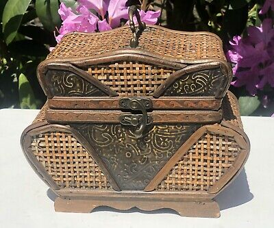 Vintage Wooden Woven Tea Caddy Container Or Jewellery Storage Box