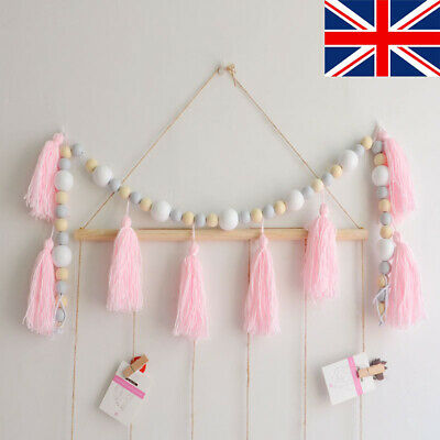 Home Wall Hanging Wood Beads String With Tassel Kids Room Tent Car DIY Decors