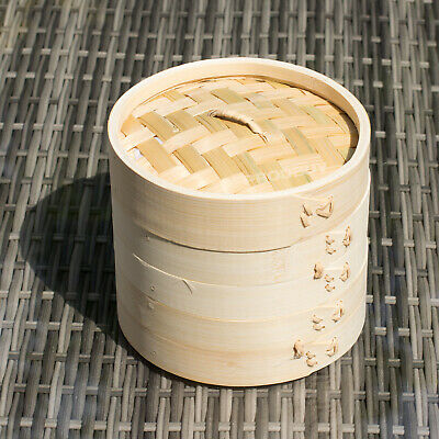 "Round 6"" 15cm Two Tier Bamboo Steamer Chinese Dimsum Dumplings Bun Cooker Rice"