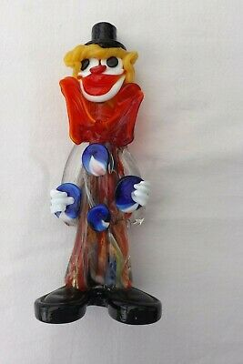 Vintage Murano Glass Clown Red Bow Blue Buttons 22Cms High
