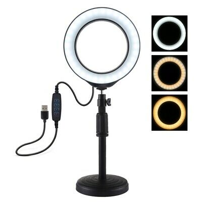 "PULUZ Round Base Desktop Mount+6.2"" USB Dimmable LED Ring Vlogging Video Light"