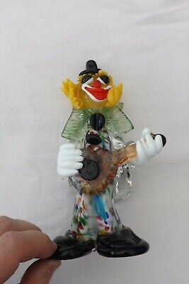 Vintage Murano Glass Clown Playing A Guitar Green Bow Blue Hat 22Cms High
