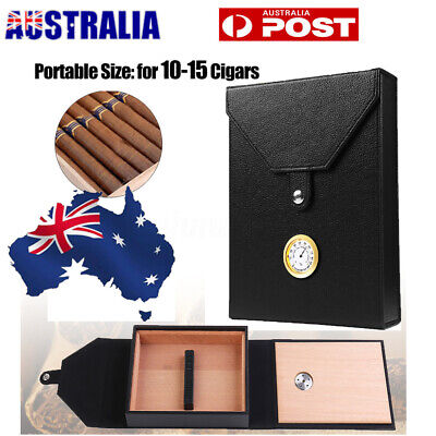 15 Count Cigar Humidor Humidifier Leather Wood Lined Case Box with Hygrometer AU