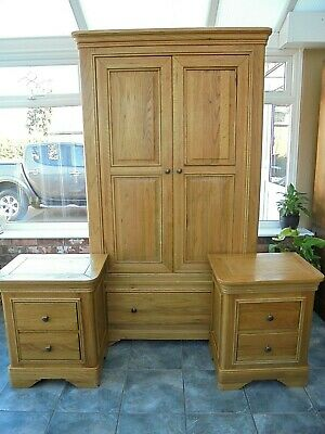 Rustic French Style Solid Oak Double Wardrobe & Drawer plus 2 Bed Side Cabinets