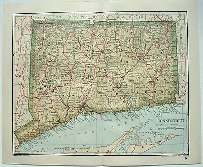Original 1893 Map of Connecticut by Dodd Mead & Company. Antique