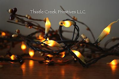 50 Count Country Lights Strand Dipped Silicone - Brown Cord  - Country Living