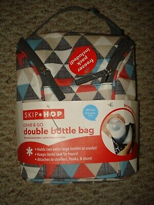 Brand New Skip Hop Grab & Go Double Bottle Insulated Bag W/ Freezer Gel Pack